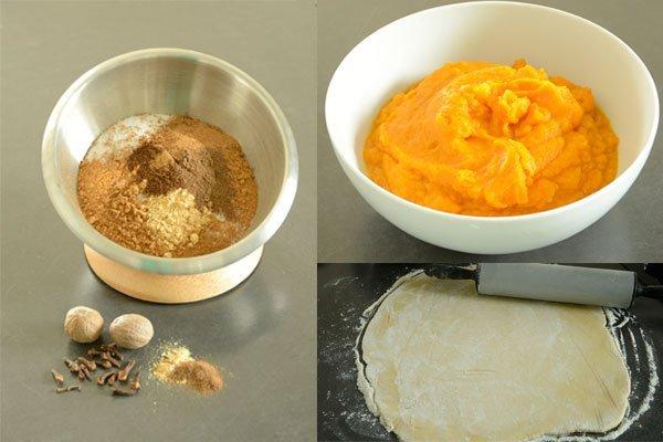 Die einzelnen Arbeitsschritte für das Backen eines Pumpkin Pie