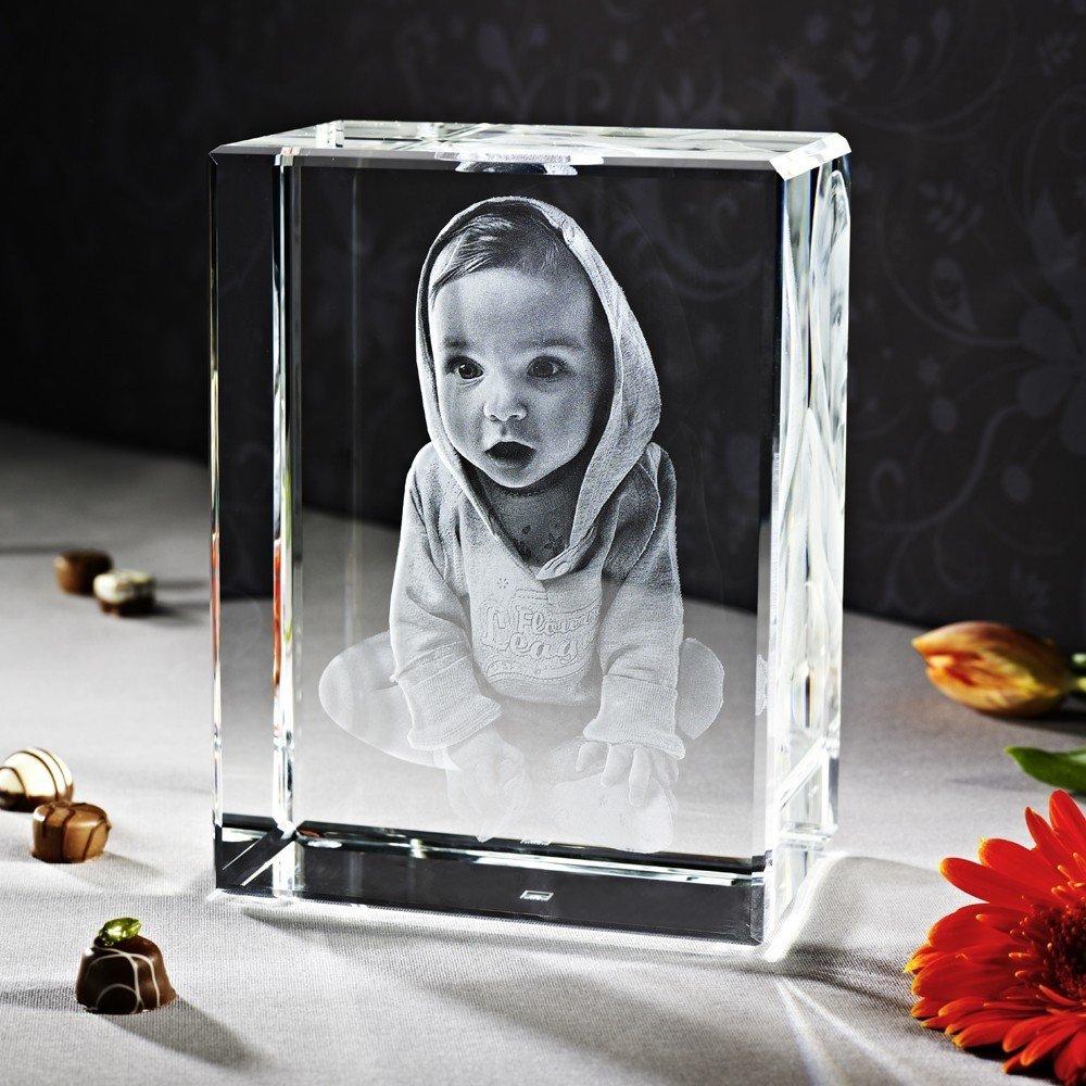 Kunst|Schlüsselanhänger 3D Laser Foto im Big Block Viamant Glas (1-10 Personen)