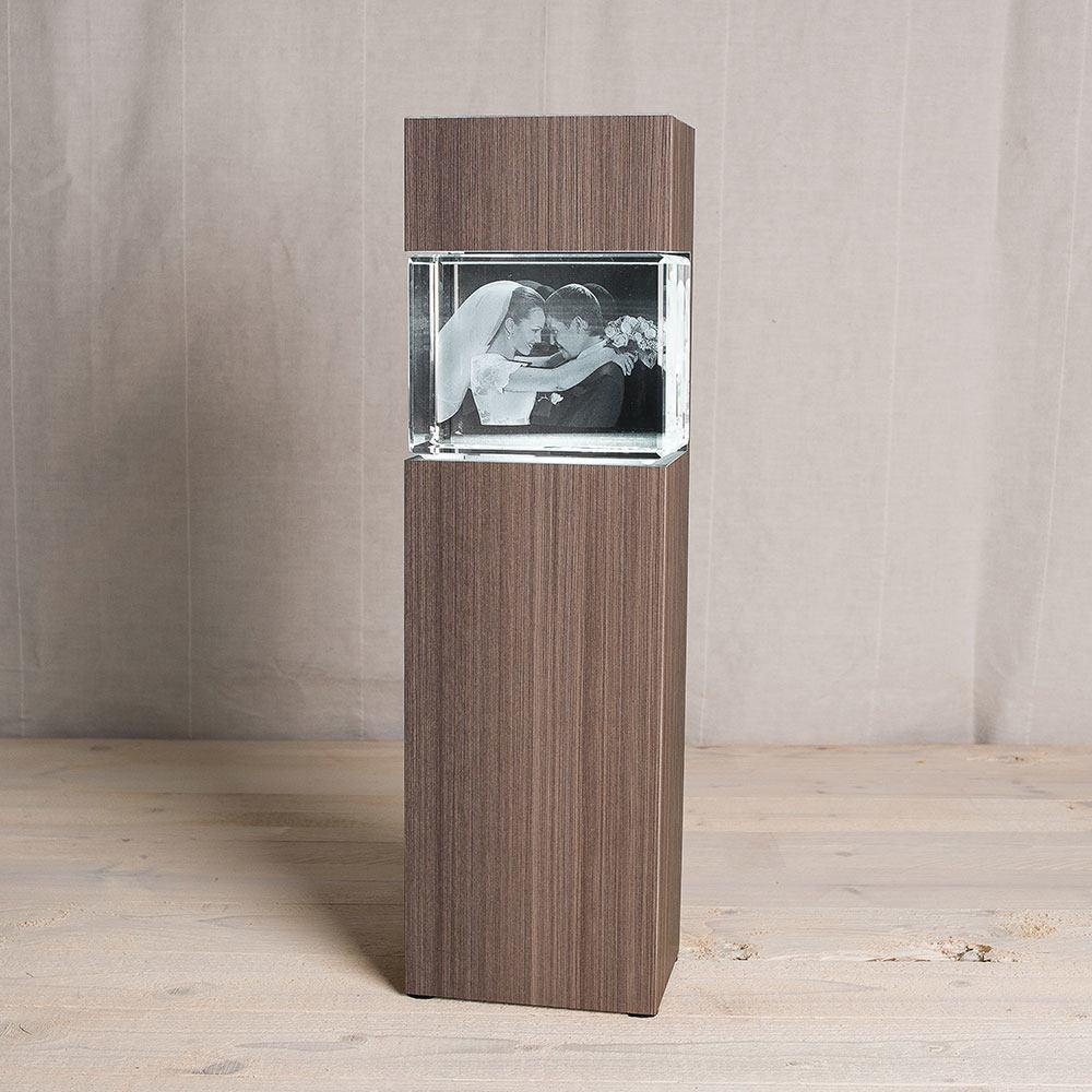 Leuchtstele für 3D Foto in Glas im Giga Viamant Hochformat - Dekor Ceramic Wood