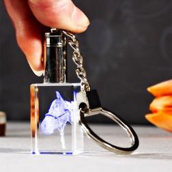 Schlüsselanhänger mit blauem Licht beleuchtet