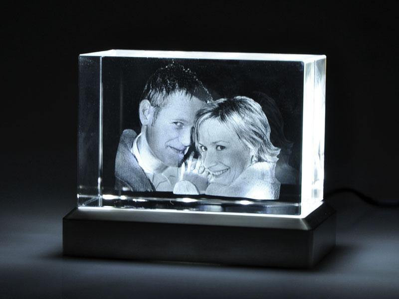 beleuchtetes 3D Foto in Glas
