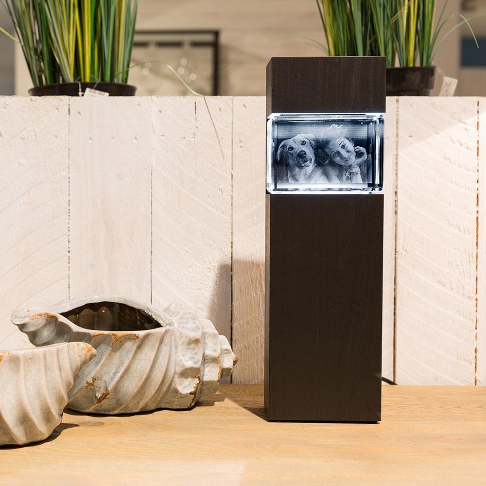 Leuchtstele für das 3D Glasfoto im Mega Viamant, Querformat