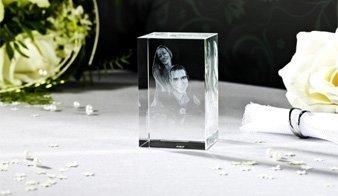 3D Glasbild mit Hochzeitspaar