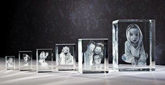 3D Fotos im Glaswürfel