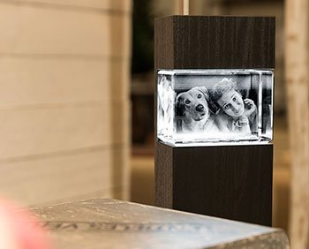 3D Foto im Glas mit Leuchtstele für ein schickes Wohnambiente