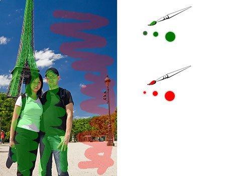 Foto mit Rot/Grün Markierungen