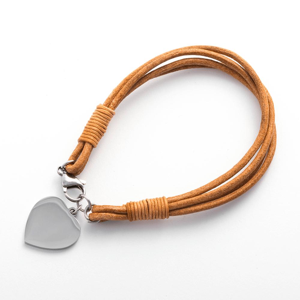 Lederarmband mit Edelstahlverschluß und Gravur-Herz stahl, 19 cm, hellbraun