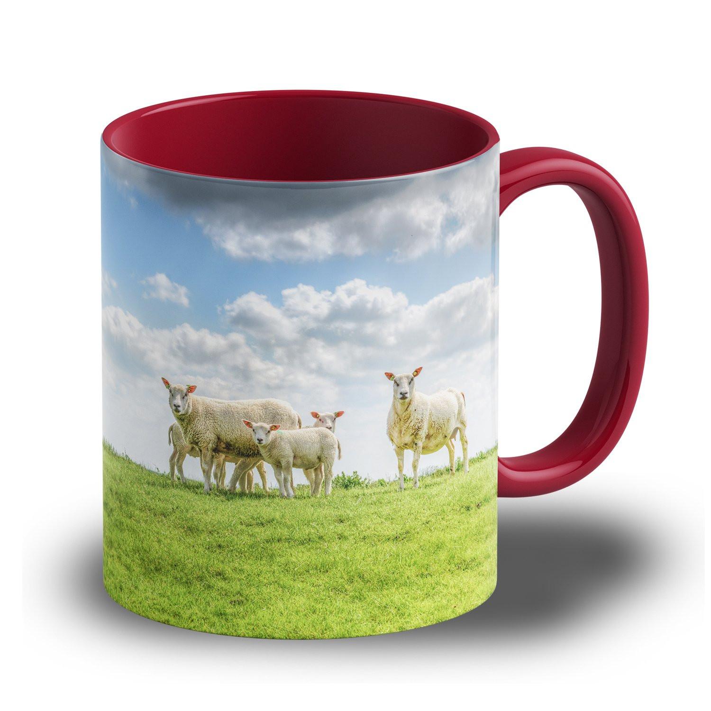"Fototasse ""Dunkelrot"" - farbige Tasse mit eigenem Motiv bedrucken"