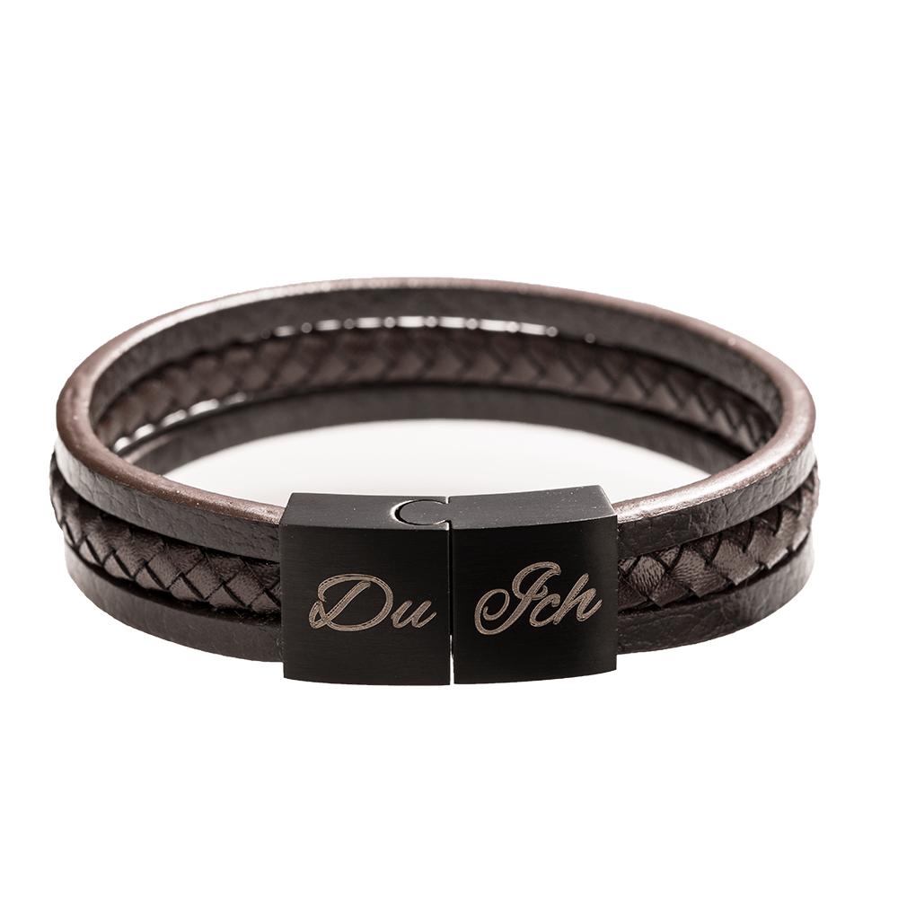 Leder-Armband mit schwarzem Edelstahlverschluß für Foto oder Text, braun