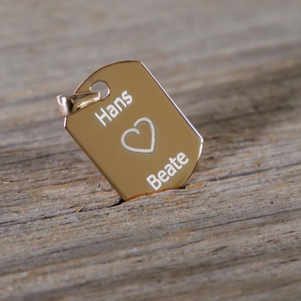 Silber-Anhänger mit Ihrem Wunschtext - Dog Tag, rosévergoldet