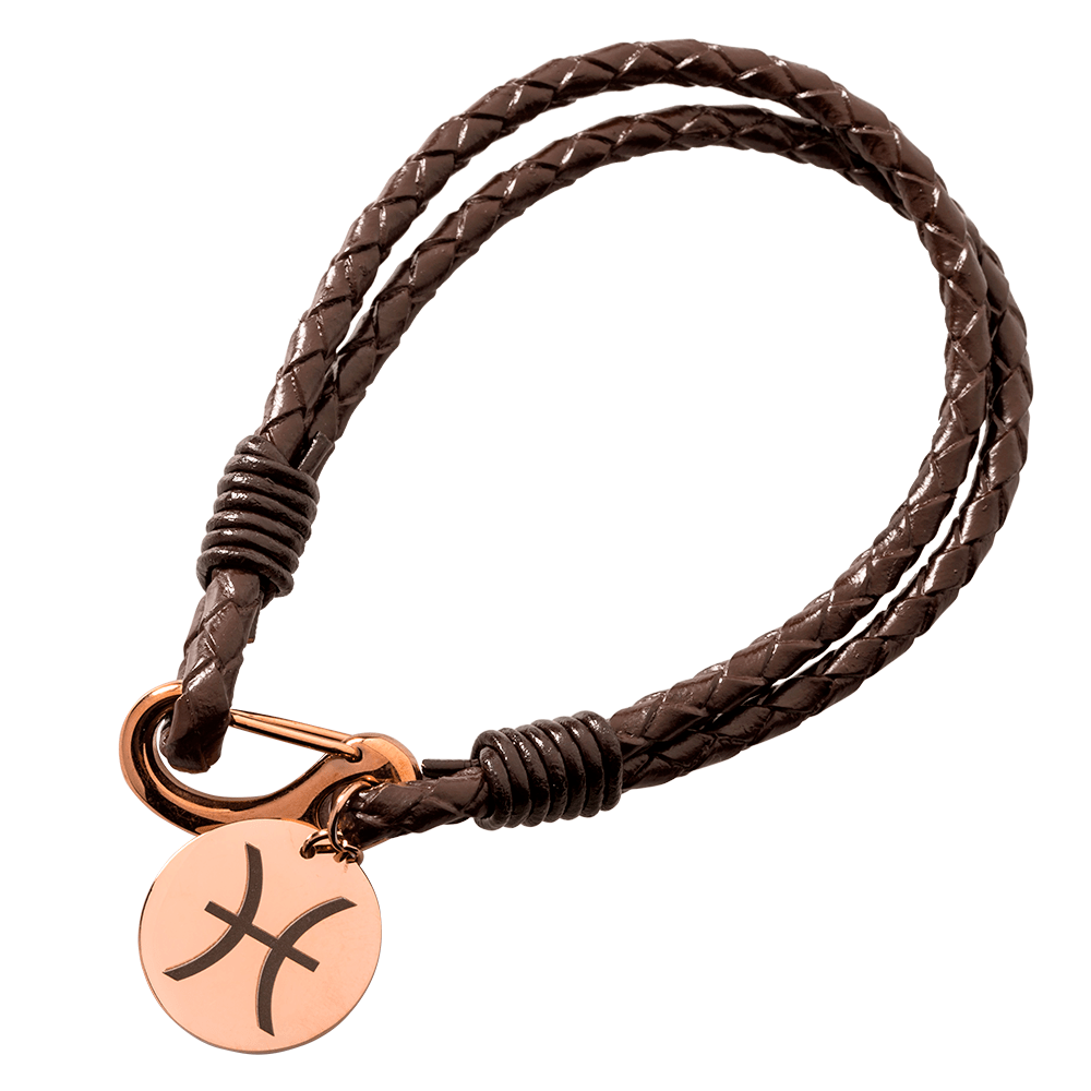 Leder-Armband geflochten mit rundem Anhänger für Ihre eigene Gravur, dunkelbraun