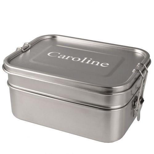 personalisierte Doppeldecker Lunchbox aus Edelstahl (1960 ml)
