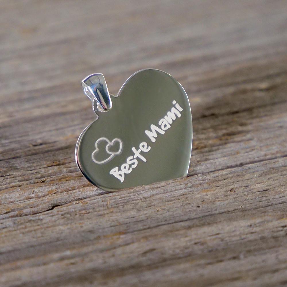 Silber-Anhänger mit persönlichem Text belasert - Herz, silber