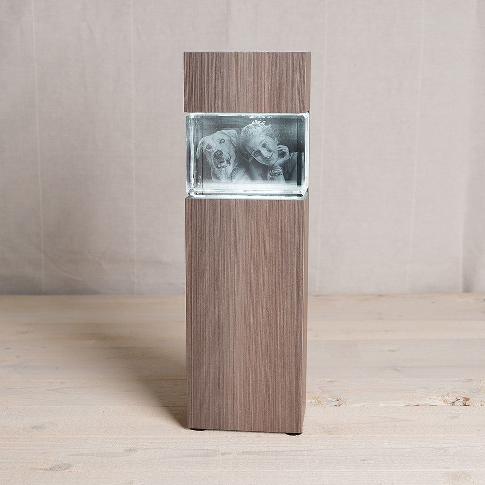 Leuchtstele für 3D Laser Foto im Mega Querformat - Dekor Ceramic Wood - Das 3D Laser Foto ist nicht im Lieferumfang