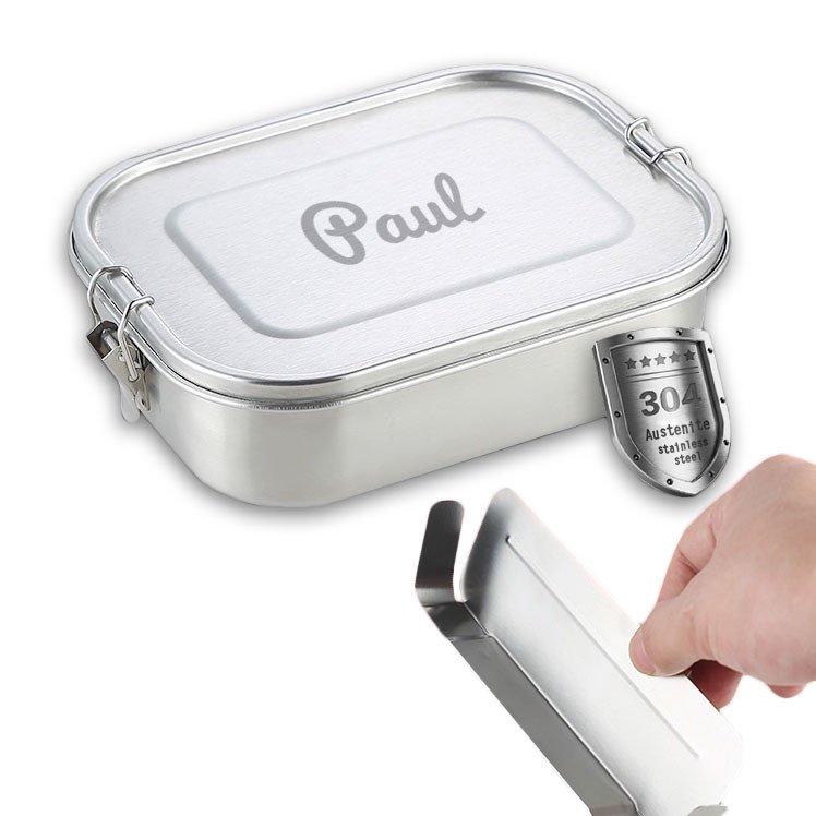 personaliserte Lunchbox aus Edelstahl 17 x 12 x 6cm, 800ml