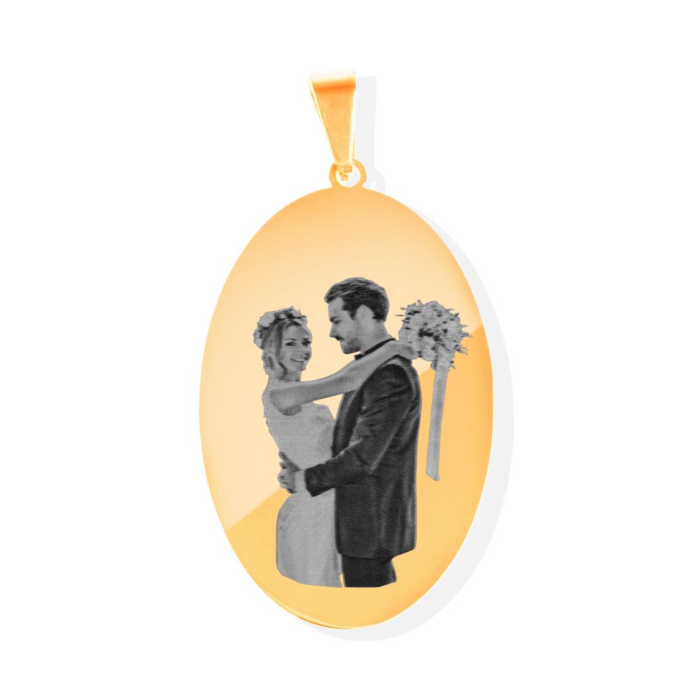 Edelstahl-Anhänger personalisiert mit Ihrem Foto - Oval L, goldfarben