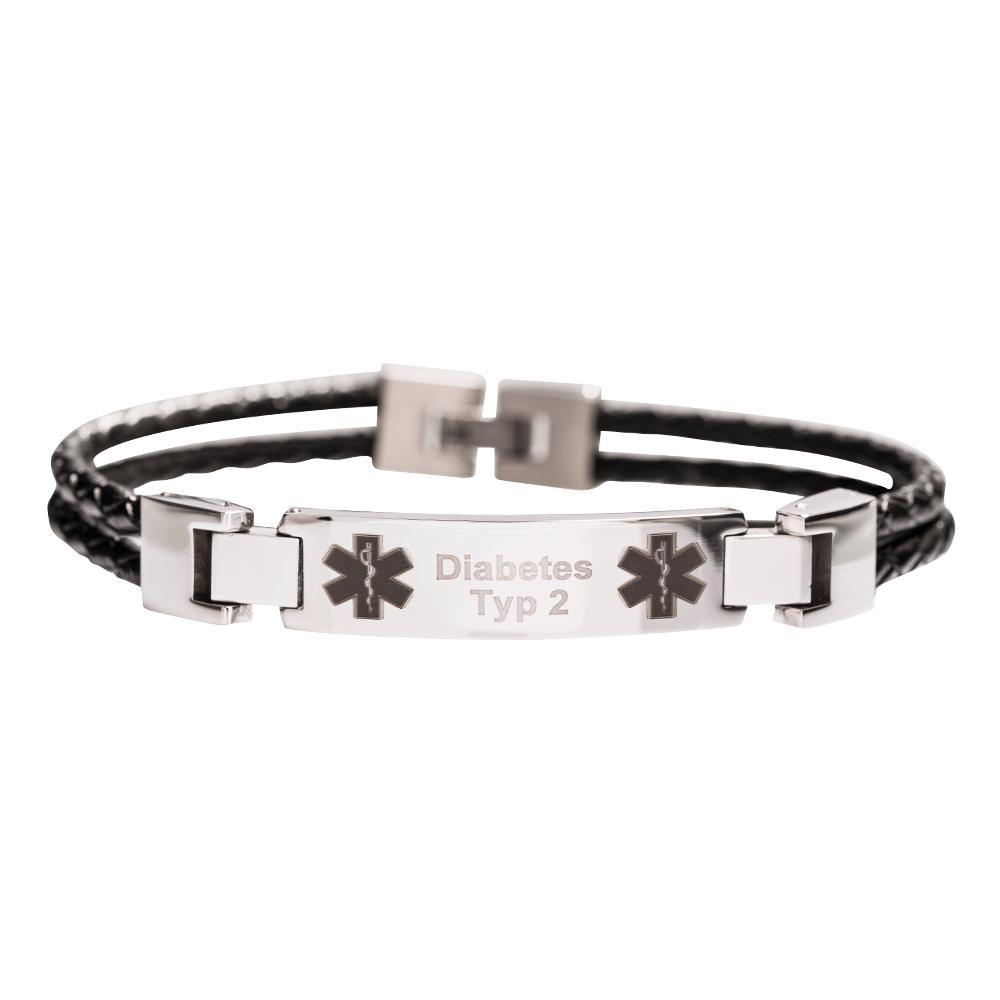 Leder-Armband zweireihig mit Ihrer Wunschgravur, schwarz