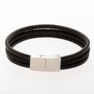 Lederarmband/schwarz mit Edelstahlverschluß/stahlfarben 18 cm