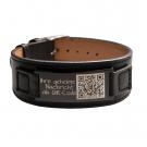 Leder-Armband mit schwarzer Gravurplatte für Ihre individuelle Lasergravur, schwarz