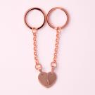 Schlüsselanhänger Edelstahl Herz geteilt M, roségoldfarben