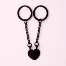 Schlüsselanhänger Edelstahl Herz geteilt M, schwarz