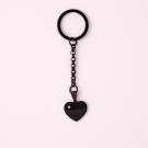 Schlüsselanhänger Edelstahl Herz mit Swarovski-Stein M, schwarz