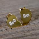 Silber-Anhänger personalisiert mit Gravur - Doppeltes Herz, vergoldet