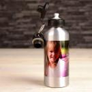 Alu Flasche mit eigenem Foto bedrucken lassen - silber