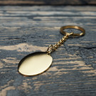 Schlüsselanhänger Edelstahl Oval L, goldfarben
