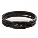 Leder-Armband mit schwarzem Edelstahlverschluß für Text-Gravur, schwarz