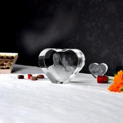 XL Herz mit 3D Laser Foto im Größenvergleich zum normalen Herz