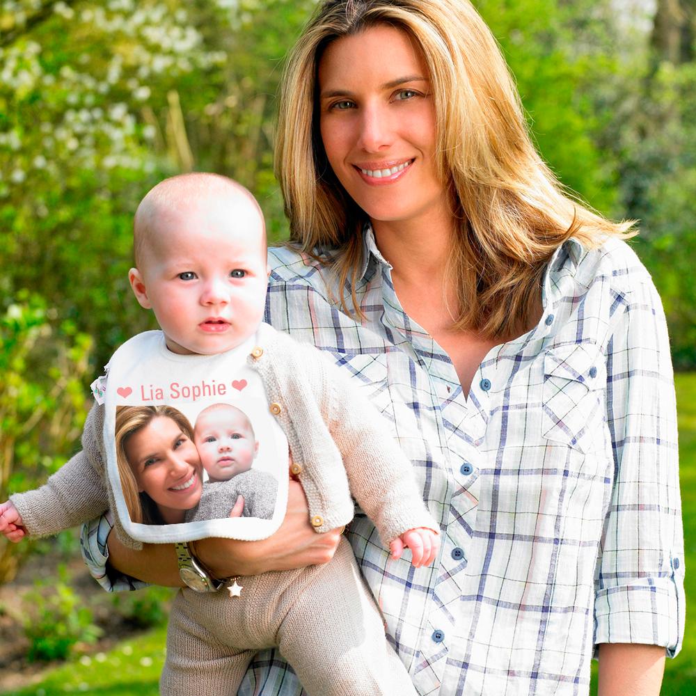 Baby Lätzchen mit Foto und rosafarbenem Saum