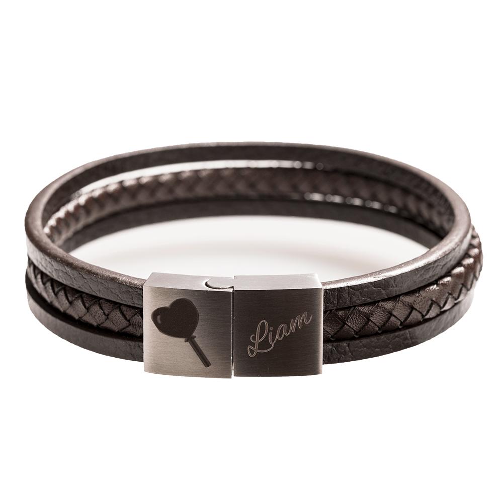 Leder-Armband mit Edelstahlverschluß für die individuelle Gravur, braun