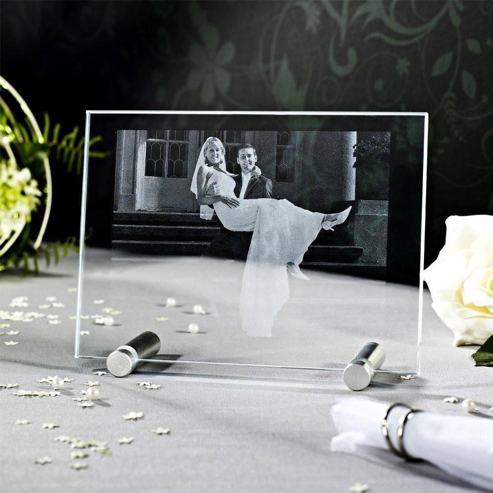 Hochzeitsfoto als Laserfoto in Glas - Sockel nicht im Lieferumfang