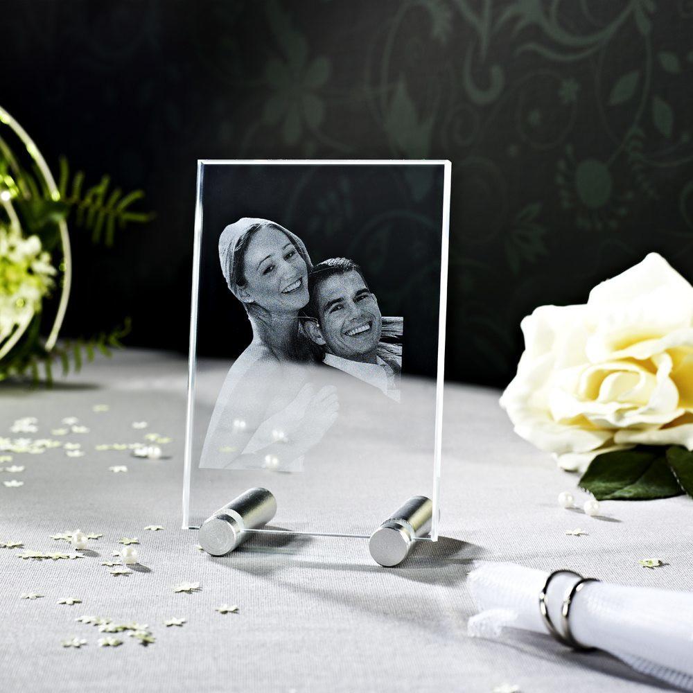 Hochzeitsfoto in Glas gelasert - Der Sockel ist nicht im Lieferumfang