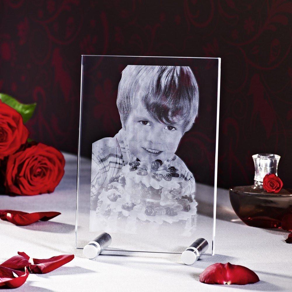 Muttertagsgeschenk in Form eines Glasfotos - Sockel nicht im Lieferumfang