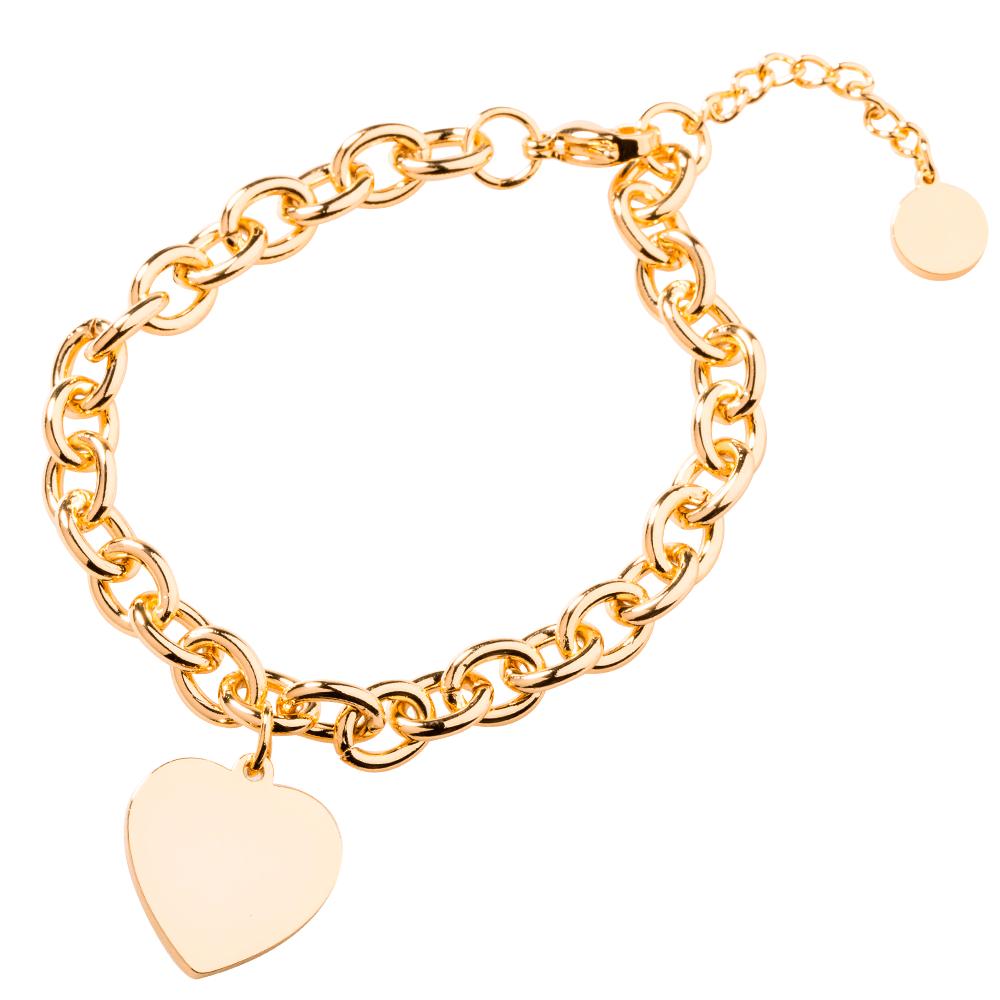 edelstahl armband mit herzanh nger graviert mit ihrem text oder bild goldfarben. Black Bedroom Furniture Sets. Home Design Ideas