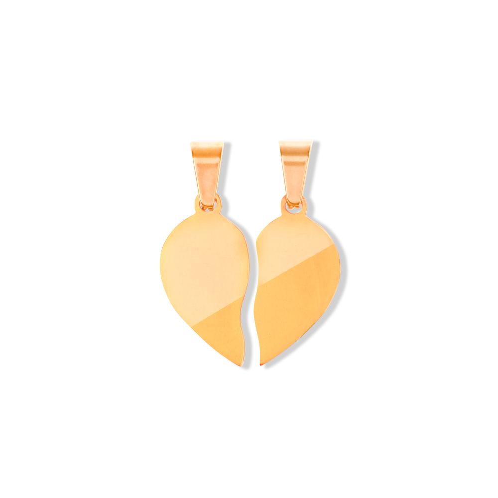 Anhänger Herz geteilt M goldfarben