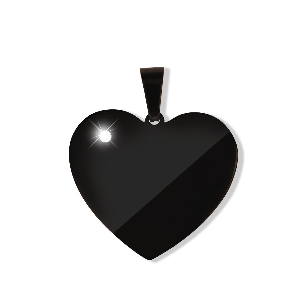 Anhänger Herz mit Stein L Schwarz