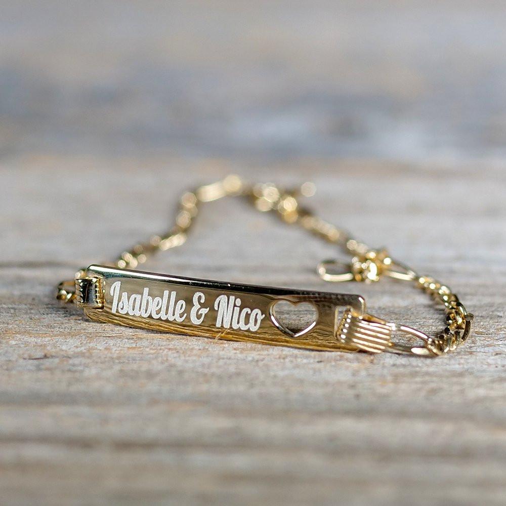 Herz-Armband mit Gravur gold aus 925er Sterlingsilber
