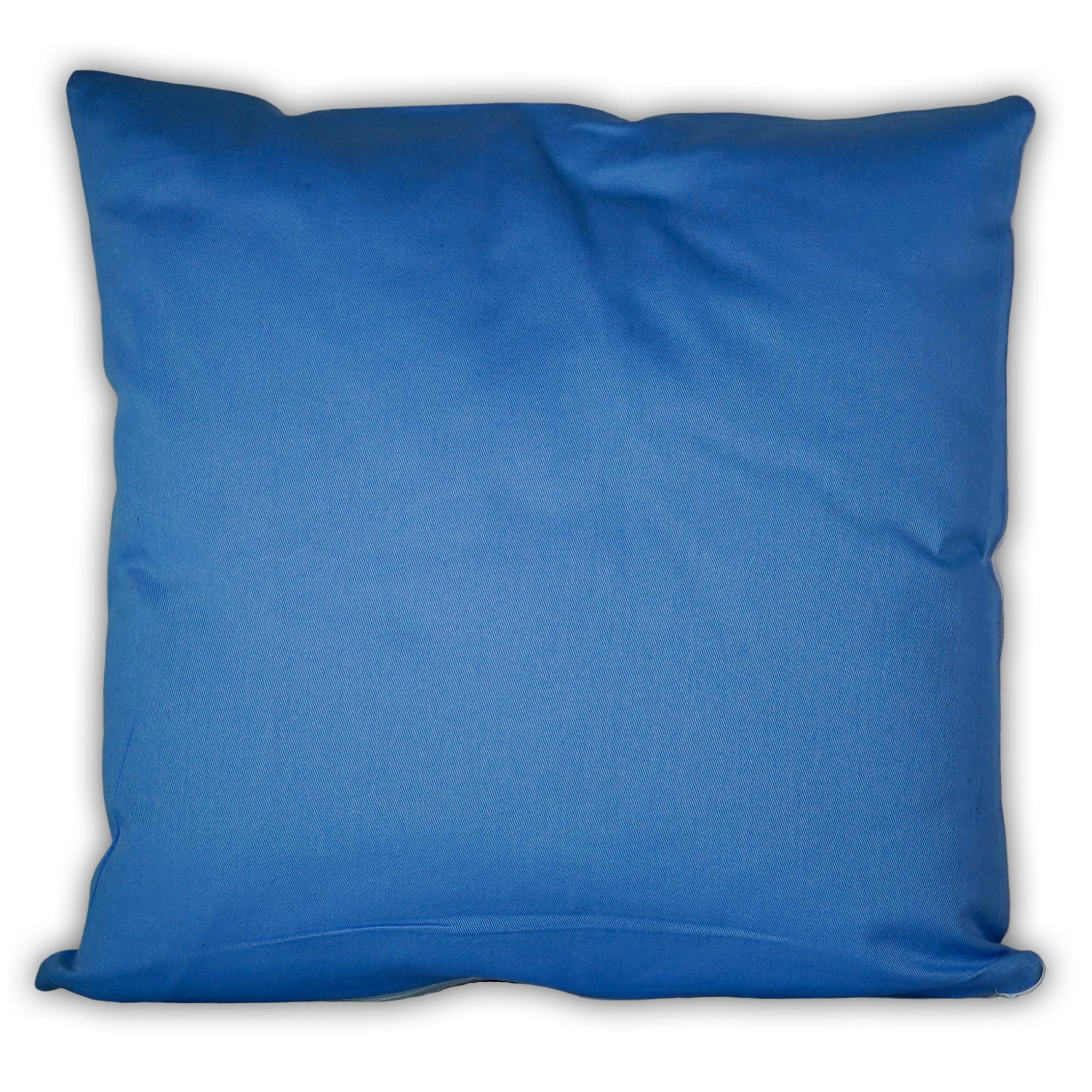 Fotokissen quadratisch zweifarbig blau