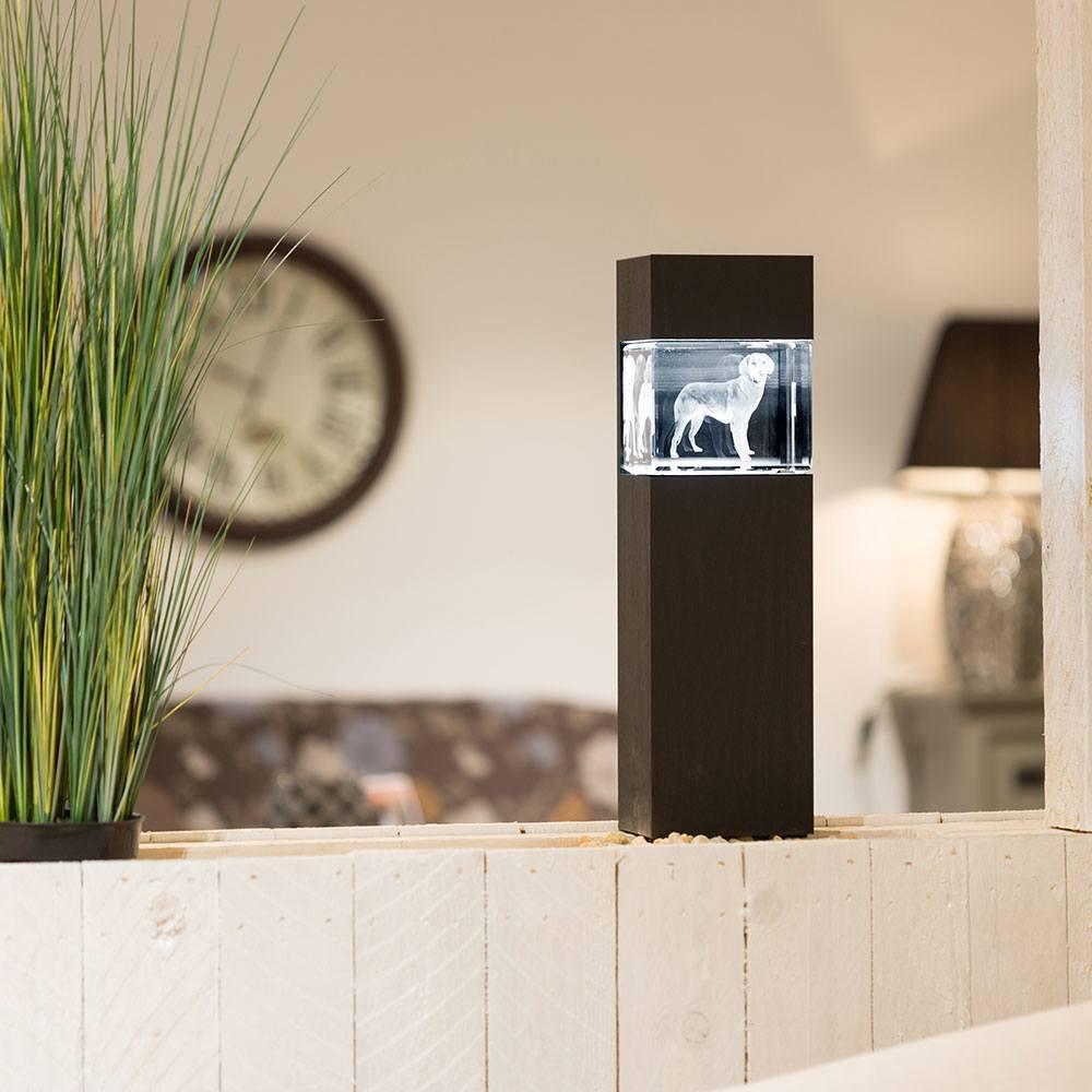 beleuchteter Leuchtsockel aus Holz für Giga Viamant im Querformat - Dekor Pecan Black Brown - Das 3D Laser Foto ist nicht im Lieferumfang