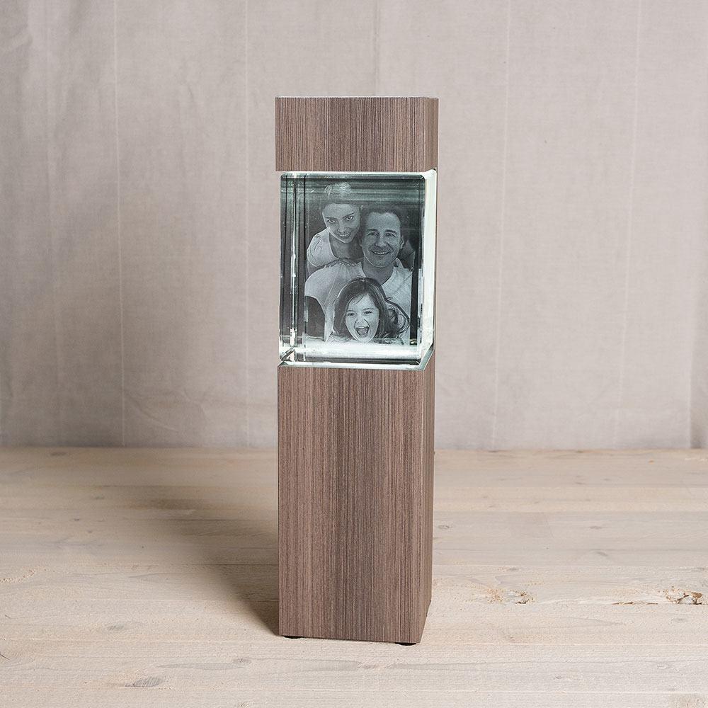Leuchtstele für 3D Foto in Glas im Giga Hochformat - Dekor Ceramic Wood - Das 3D Laser Foto ist nicht im Lieferumfang