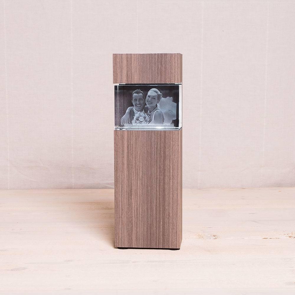 Leuchtstele für 3D Laser Foto im Kelo Querformat - Dekor Ceramic Wood - Das 3D Laser Foto ist nicht im Lieferumfang