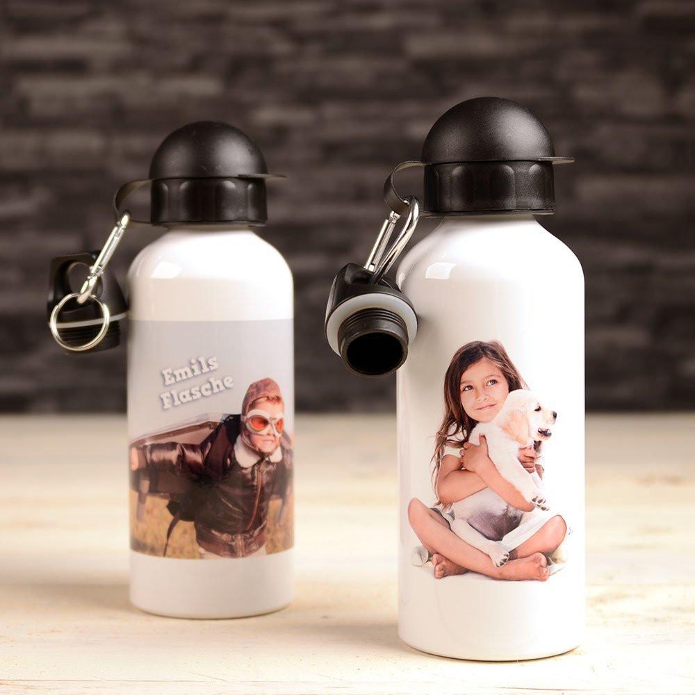 Alu Flasche mit Foto - weiss