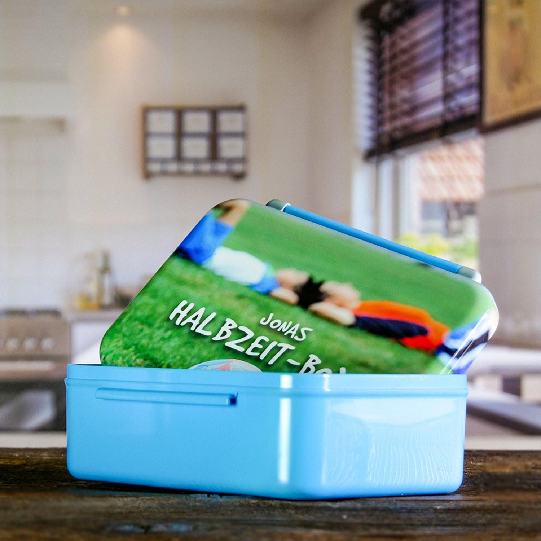 Brotdose mit Foto für die Reise - Farbe blau