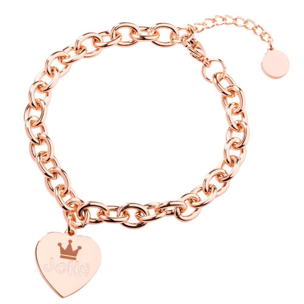 Edelstahl-Armband mit Herzanhänger für Ihr persönliches Foto, roségoldfarben