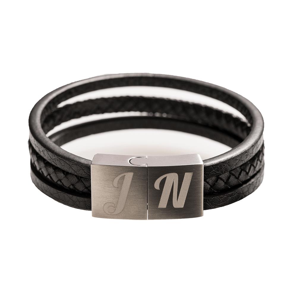 Leder-Armband mit Edelstahlverschluß für eigene Gravur, schwarz