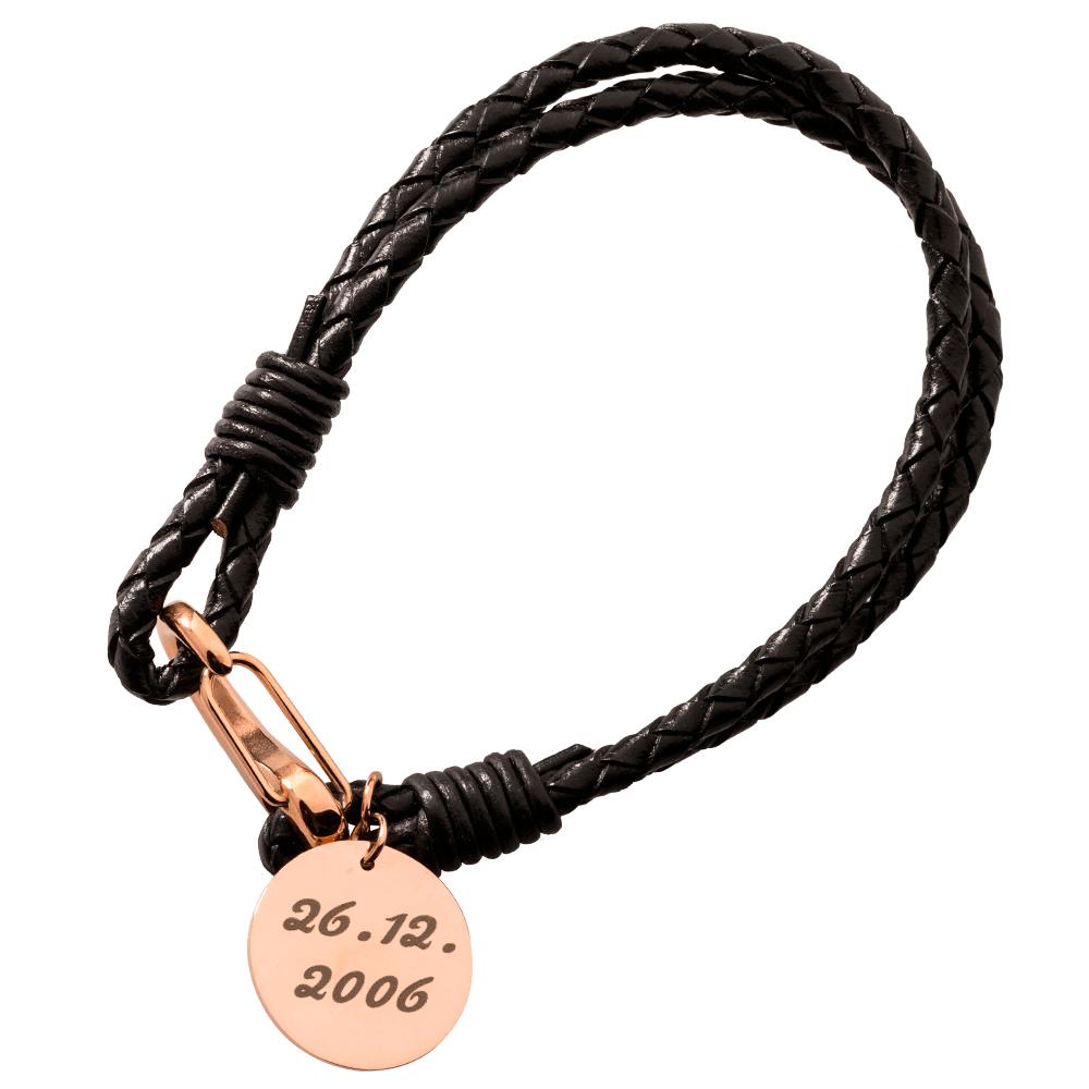 Leder-Armband mit rundem Anhänger für Ihre eigene Gravur, schwarz