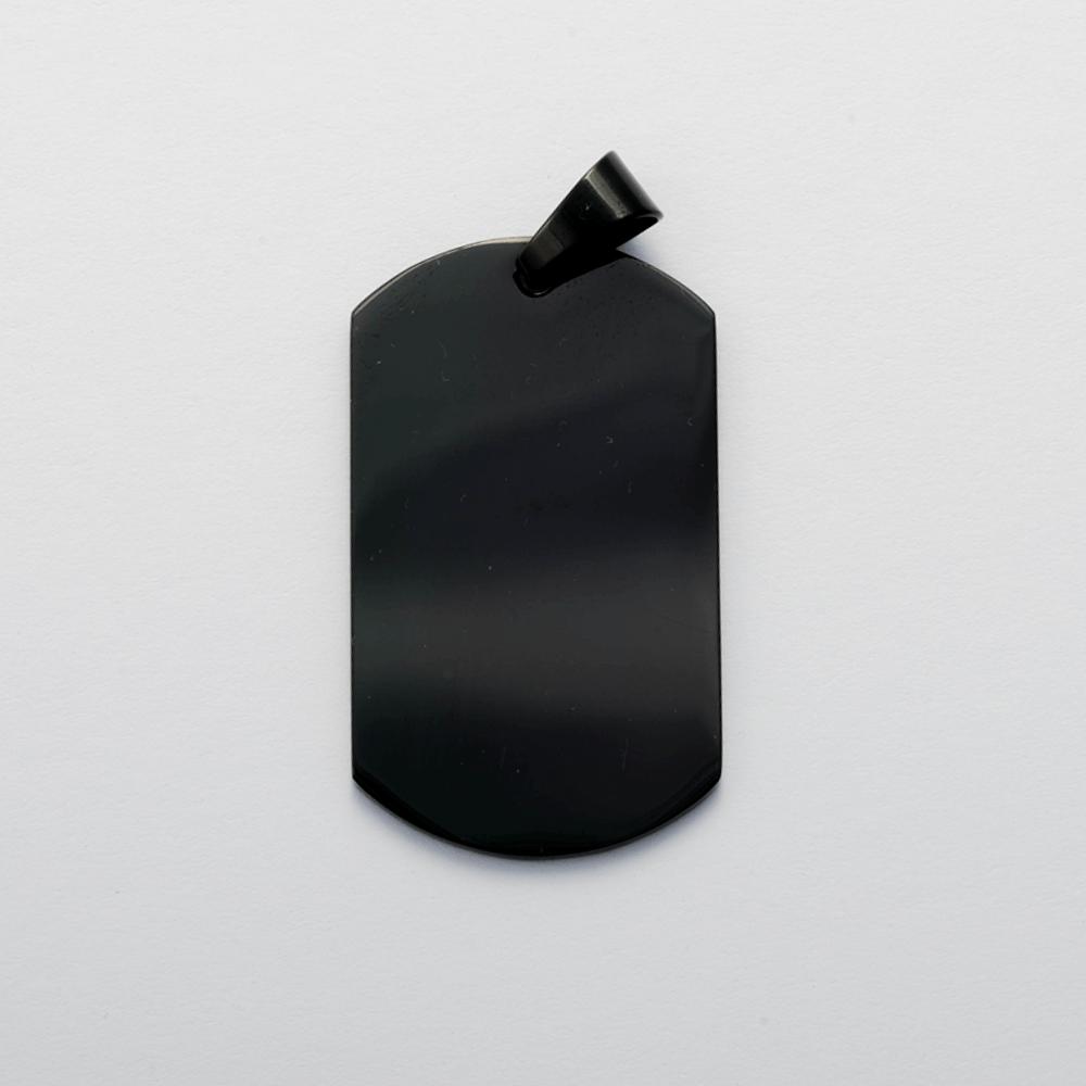 Edelstahl-Anhänger mit individueller Fotogravur - Dog Tag XL, Schwarz